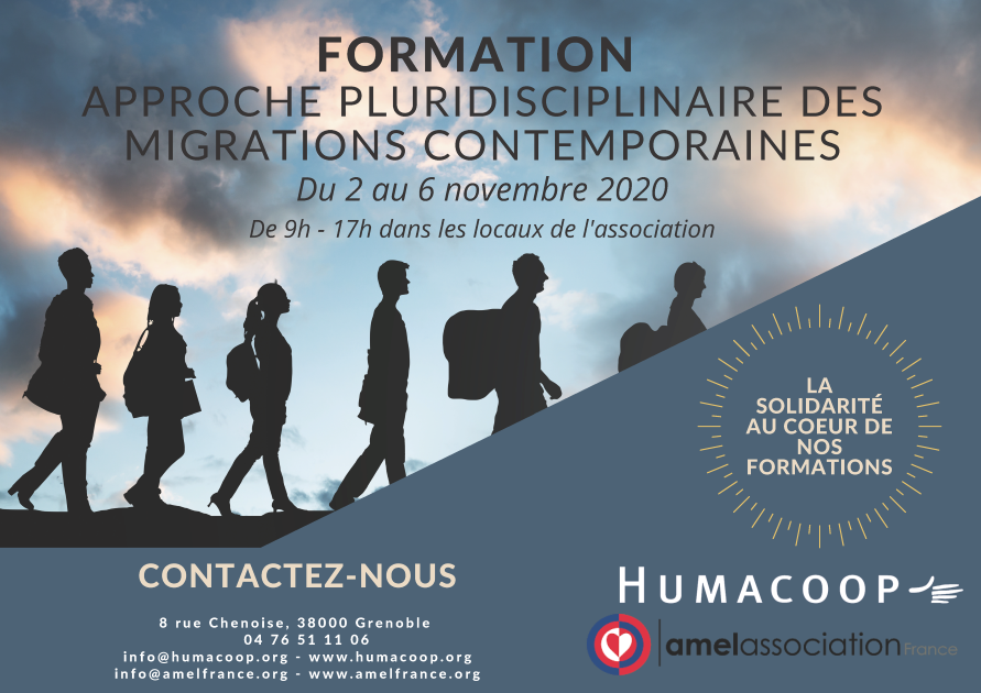 Afiche formation mogrations contemporaines par Humacoop nov 2020